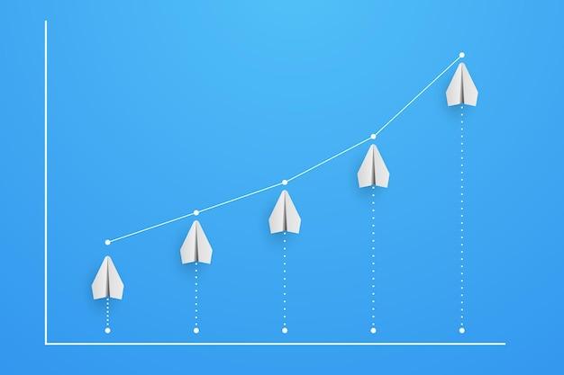 Gráfico e diagrama de aviões com ilustração de aumento de crescimento