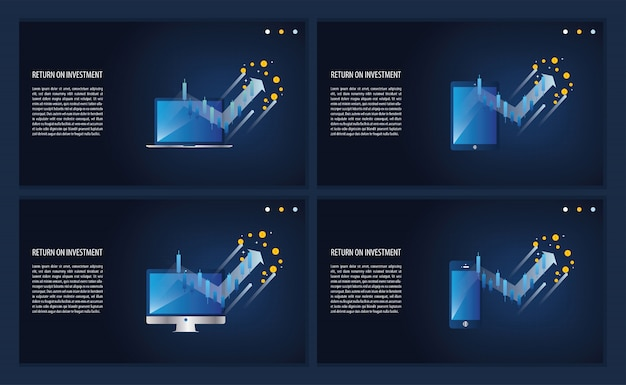 Gráfico e gráfico de roi de retorno sobre o investimento na página de destino do laptop, computador, telefone e tablet