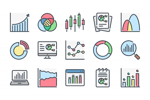 Gráfico e gráfico relacionados ao conjunto de ícones de linha de cores.