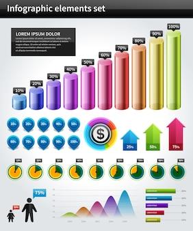 Gráfico e gráficos do vetor da coleção de infographics projetam elementos e ícones do visualização dos dados ajustados.