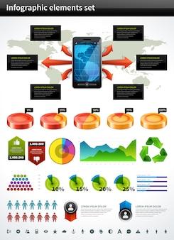 Gráfico e gráficos do vetor da coleção de infographics projetam elementos e ícones do visualização dos dados ajustados. Vetor Premium