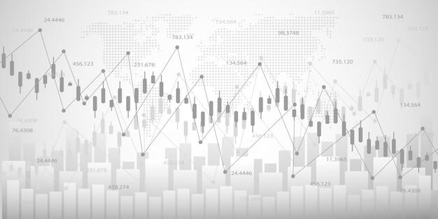 Gráfico econômico com diagramas no mercado de ações