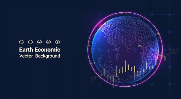 Gráfico econômico da terra no mercado de ações - conceito da economia global gráfico do gráfico de crescimento econômico.