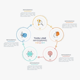 Gráfico em forma de anel com 5 elementos redondos coloridos, números e ícones lineares conectados por setas. conceito de ciclo de negócios fechado com cinco etapas. modelo de design simples infográfico. ilustração vetorial