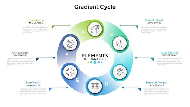 Gráfico em forma de anel com 6 elementos circulares de papel branco, ícones lineares, letras e local para texto. conceito de processo cíclico com seis etapas. modelo de design criativo infográfico. ilustração vetorial.