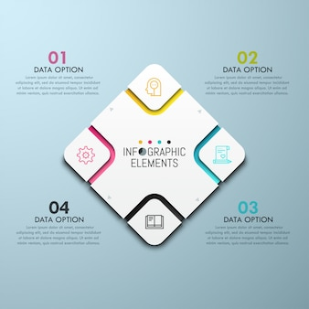Gráfico em forma de diamante com elementos setoriais, pictogramas de linha fina e caixas de texto numeradas.