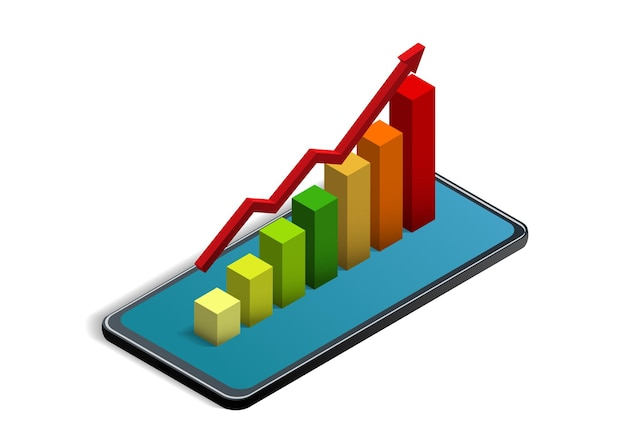 Gráfico estatístico isométrico no smartphone. ilustração vetorial