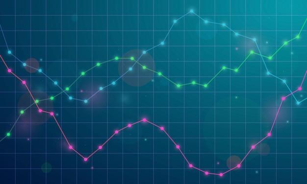 Gráfico financeiro com gráfico de linha de tendência ascendente