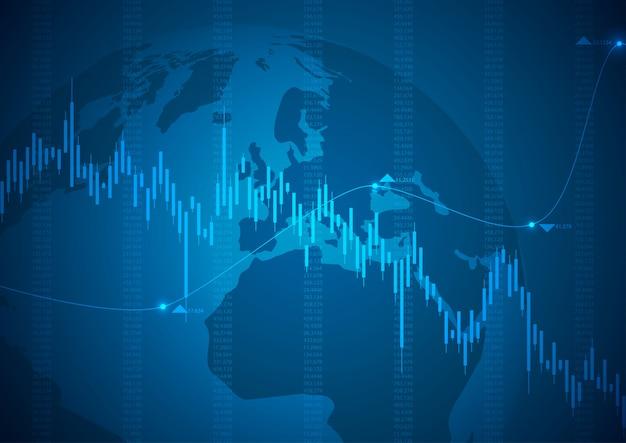 Gráfico financeiro com mercado gráfico de ações