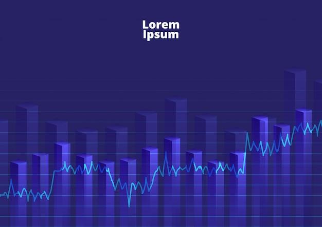 Gráfico financeiro de fundo com estoque gráfico de linha
