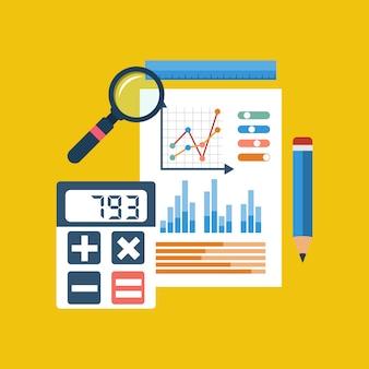 Gráfico financeiro em papel, calculadora, lápis, régua, lupa.