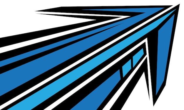 Gráfico geométrico abstrato da direção da velocidade da seta preta azul no vetor de fundo branco futurista