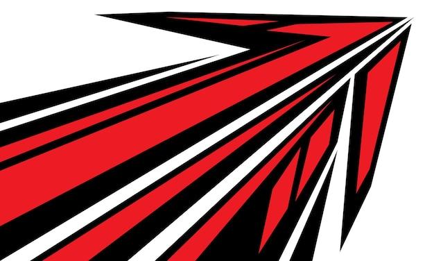 Gráfico geométrico de direção de velocidade de seta preta vermelha abstrata em vetor de fundo branco futurista