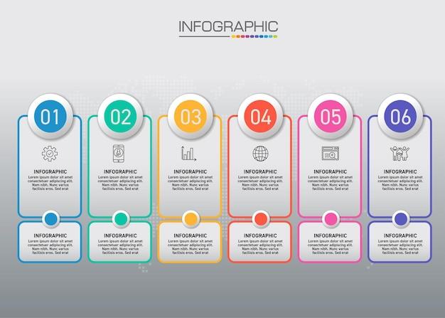 Gráfico infográfico com conceito de negócio, 6 opções podem ser usadas para conceito de negócio com 6 etapas.