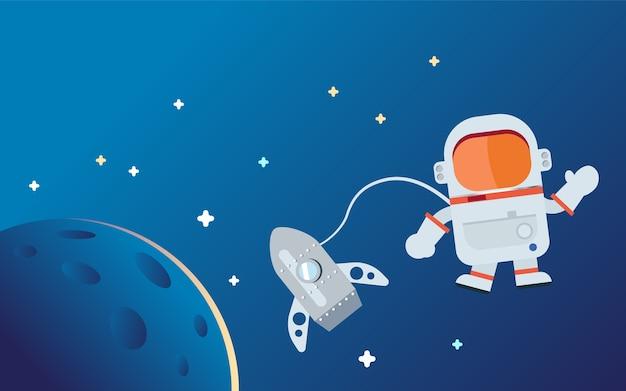Gráfico liso do personagem de banda desenhada do espaço do astronauta