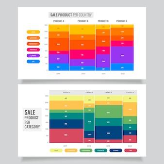 Gráfico mekko em design plano