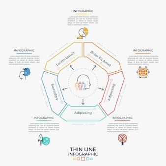 Gráfico pentagonal dividido em cinco partes, pictogramas planos e caixas de texto. conceito de análise em 5 etapas do projeto empresarial. modelo de design simples infográfico. ilustração vetorial no estilo de linha fina.