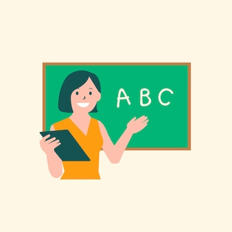Gráfico plano de personagem de aula de inglês