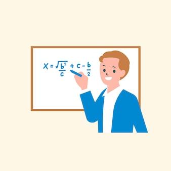 Gráfico plano de personagem de vetor de aula de matemática