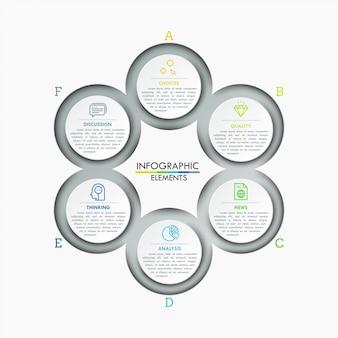 Gráfico redondo com 6 elementos circulares conectados, ícones lineares e caixas de texto