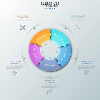 Gráfico redondo dividido em 5 peças iguais com setas, pictogramas lineares e local para texto. conceito de cinco fases do ciclo de negócios. modelo de design criativo infográfico. ilustração vetorial.