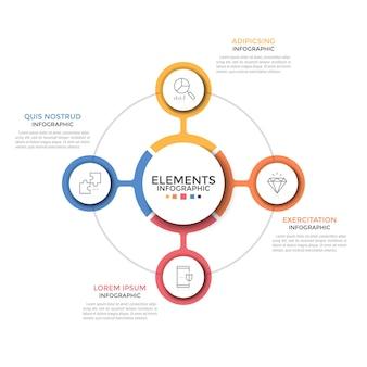 Gráfico redondo. quatro elementos circulares coloridos com ícones de linhas finas colocados em torno de um elemento central. conceito de 4 opções de negócios à sua escolha. layout de design de infográfico simples. ilustração vetorial.