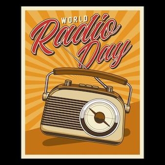 Gráfico retro do dia mundial do rádio