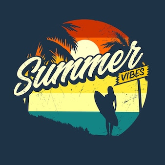 Gráfico retro do summer vibes