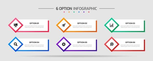 Gráfico vetorial de modelos de design de elemento de infográfico com ícones e 6 opções