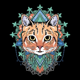 Gráfico vetorial ilustração de desenho de mandala de gato com estilo de arte de mandala retro vintage