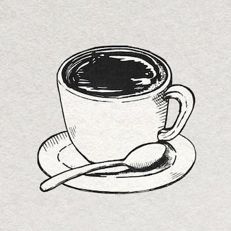 Gráfico vintage da xícara de café em preto e branco