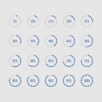 Gráficos circulares, diagramas de porcentagem de círculo de carregamento