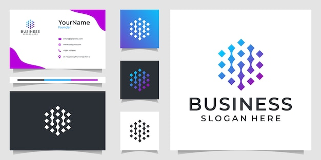 Gráficos da ilustração do logotipo abstrato da tecnologia e design de cartão de visita. bom para branding, anúncios, negócios e uso pessoal