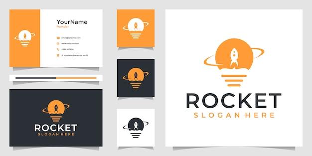 Gráficos da ilustração do logotipo do foguete e design de cartão de visita. bom para branding, anúncios, negócios e uso pessoal