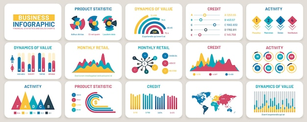 Gráficos de apresentação de negócios. relatórios financeiros, gráficos de dados de marketing e modelo de infográfico. diagrama de publicidade, infográfico de barra de estatísticas ou conjunto de vetores de informações de crescimento de negócios