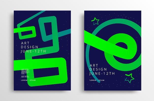 Gráficos de arte moderna com linha gradiente de néon. design de capa mínima. modelo de vetor