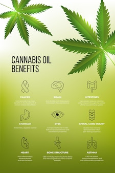Gráficos de benefícios médicos do óleo de cannabis