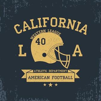 Gráficos de camisetas de tipografia esportiva da califórnia de futebol americano com fita de capacete grunge