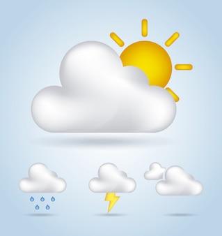 Gráficos de climas sobre ilustração em vetor fundo céu