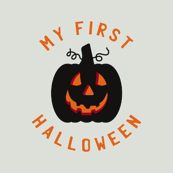Gráficos de distintivo de tipografia de halloween do vintage com abóbora e texto de citação - meu primeiro halloween. rótulo de emblema bonito de férias. etiqueta do vetor das ações.