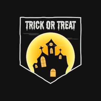 Gráficos de distintivo de tipografia de halloween do vintage com cena de paisagem de castelo de terror, lua e texto de citação - truque ou travessura. etiqueta do emblema retrô de férias. etiqueta do vetor das ações em fundo preto.