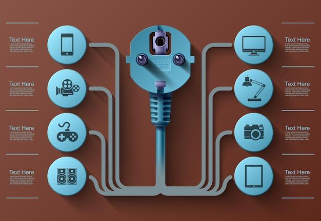 Gráficos de informações de negócios, plugue elétrico, quadrado com setores de informações abaixo, ilustração