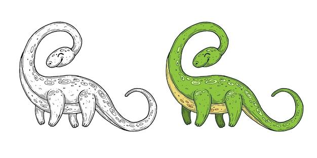 Gráficos de linha de tinta artesanal de dinossauros vetoriais