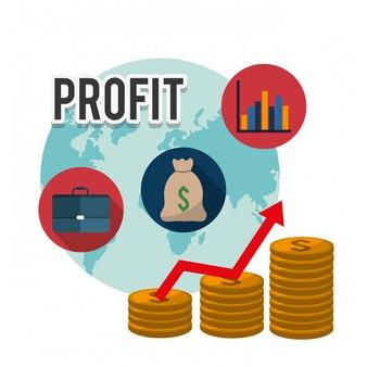Gráficos de lucro, ilustração vetorial