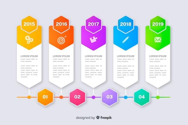 Gráficos de marketing com modelo de coleção de etapas