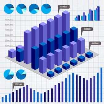 Gráficos de negócios. símbolos abstratos da web de negócios e indústria