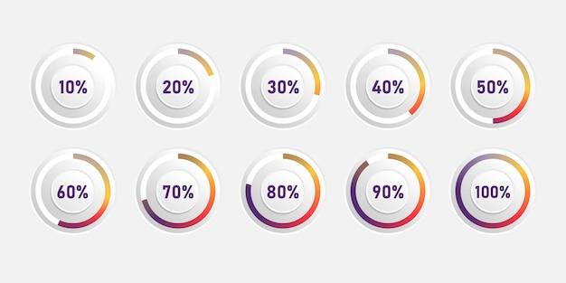 Gráficos de pizza coloridos abstratos. diagrama de círculo com gradiente