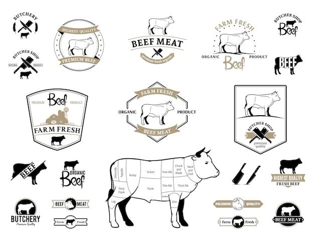 Gráficos de rótulos de logotipo de carne bovina e elementos de design