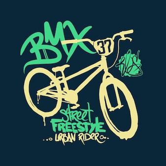 Gráficos de t-shirt bmx. estilo de rua de bicicleta extremo.