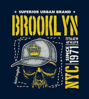 Gráficos de t-shirt urbano vintage, ilustrações desenhadas à mão, textura do grunge.